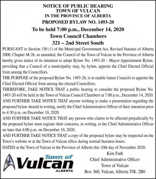 Notice Of Public Hearing Town Of Vulcan