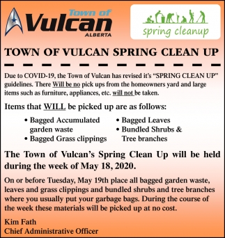 Town Of Vulcan Spring Clean Up