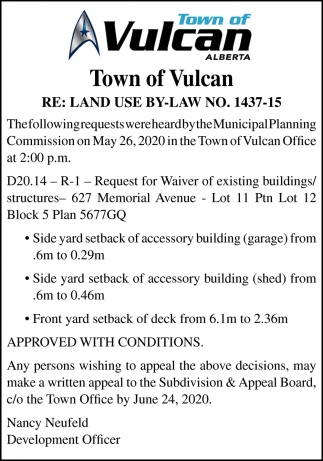 Town Of Vulcan RE: Land Use By-Law No. 1437-15