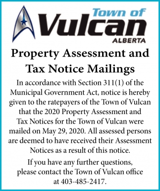 Property Assessment And Tax Notice Mailings