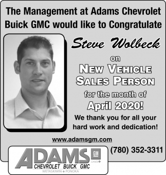 Steve Wolbeck On New Vehicle Sales Person Of The Month Of April 2020!