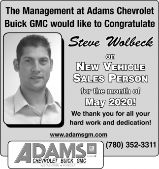 Steve Wolbeck On New Vehicle Sales Person Of The Month Of May 2020!