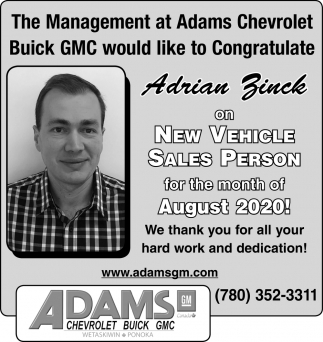 The Management At Adams Chevrolet Buick GMC Would Like To Congratulate Adrian Zinck