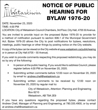 Notice Of Public Hearing For Bylaw 1976-20