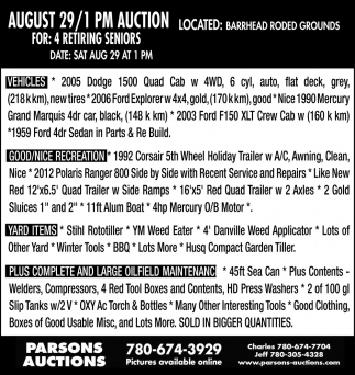 August 29 / 1 PM Auction