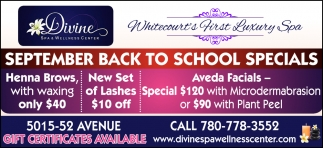 September Back to School Specials
