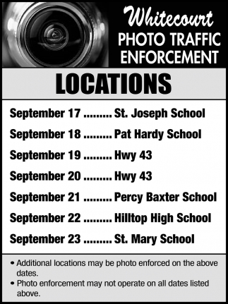 Whitecourt Photo Traffic Enforcement Locations