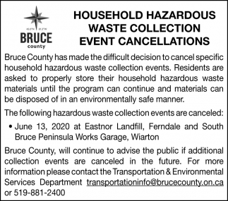 Household Hazardous Waste Collection Event Cancellations