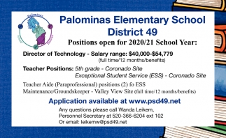 Positions Open for 2020/21 School Year