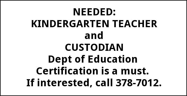 Kindergarten Teacher and Custodian