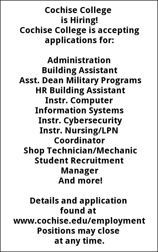Cochise College is Accepting Applications