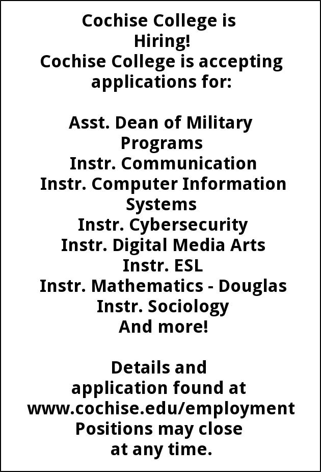 Cochise College is Accepting Applications For