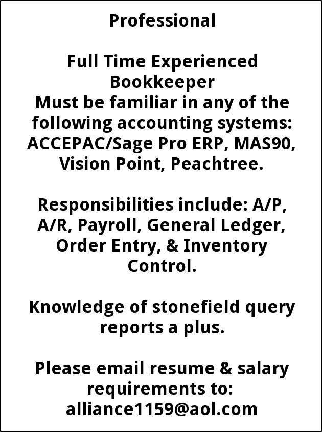 Full Time Experienced Bookkeeper