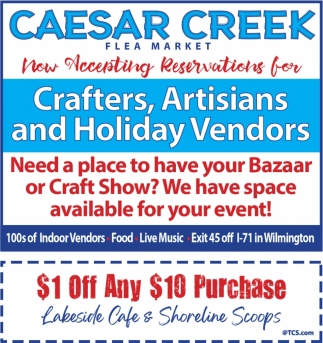 1 Off Any 10 Purchase Lakeside Cafe And Shoreline Scoops Caesar Creek Flea Market Wilmington Oh