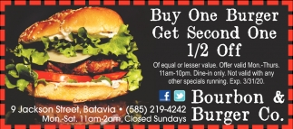 Buy One Burger Get Second One 1/2 Off
