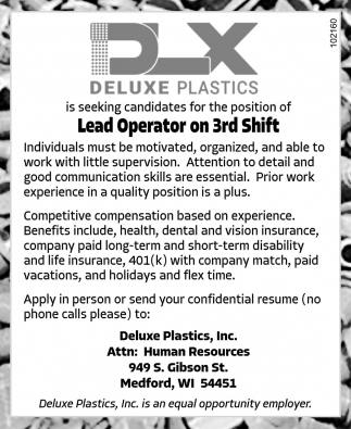 Lead Operator on 3rd Shift
