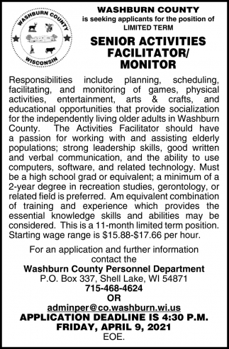 Senior Activities Facilitator, Monitor