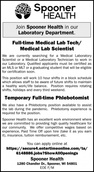 Medical Lab Technician & Temporary Full-Time Phlebotomist