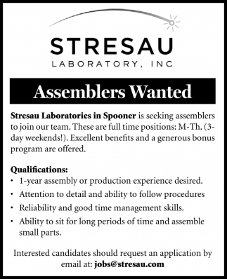 Assemblers Wanted