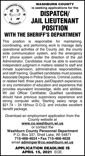 Dispatch/Jail Lieutenant Position