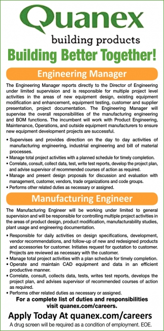 Engineering Manager, Manufacturing Engineer