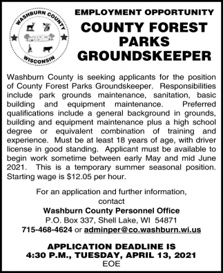 County Forest Parks Groundskepper