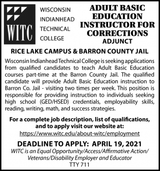 Adult Basic Education Instructor For Corrections