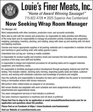 Now Seeking Wrap Room Manager