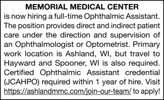 Full-Time Ophthalmic Assistant