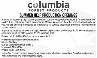 Summer Help Production Openings