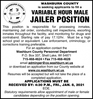 Variable Hour Male Jailer Position