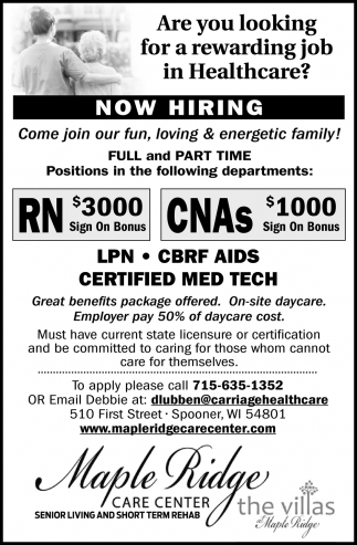 LPN, CBRF Aids & Certified Med Tech