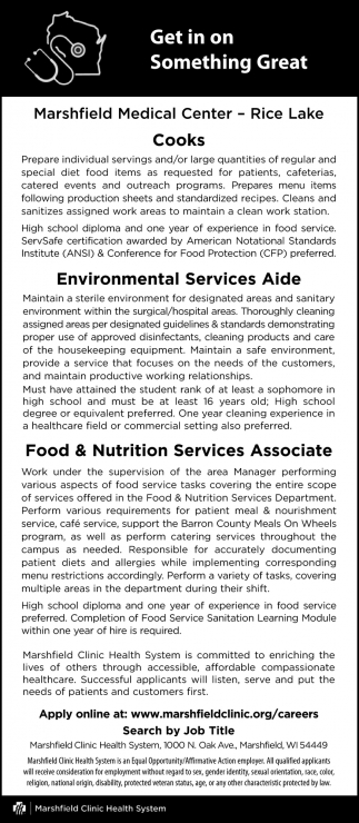 Cooks, Environmental Services Aide, Food & Nutrition Services Associate