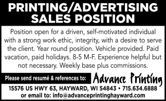 Printing / Advertising Sales Position