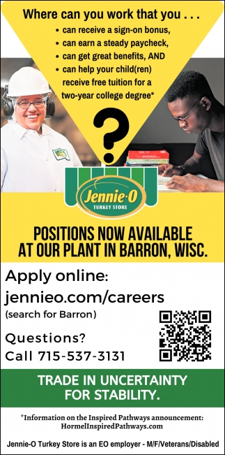 Positions Now Available at Our Plant in Barron, Wisc