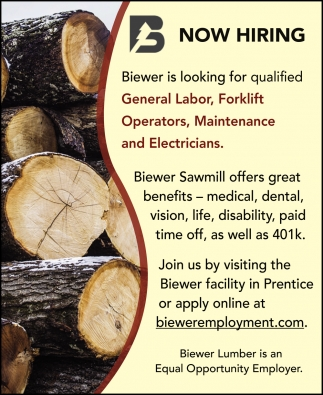 General Labor, Forklift Operators, Maintenance and Electricians