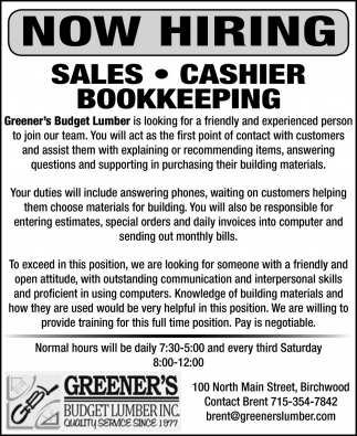 Sales, Cashier, Bookkeeping Position