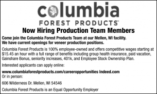 Now Hiring Production Team Members