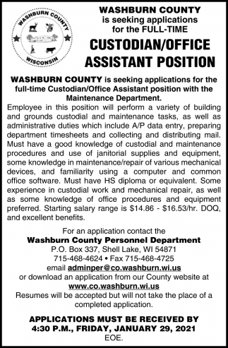 Custodian / Office Assistant Position