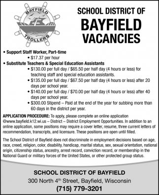 Support Staff Worker, Substitute Teachers & Special Education Assistants