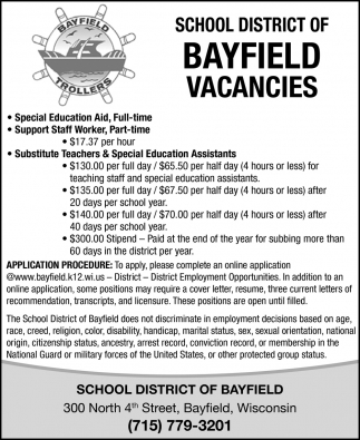 Special Education Aid, Support Staff Worker, Substitute Teachers & Special Education Assistants