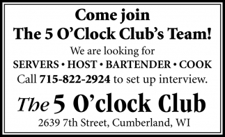 Come Join The 5 O'Clock Club's Team
