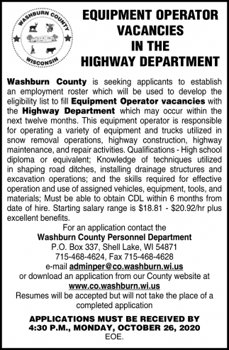 Equipment Operator Vacancies