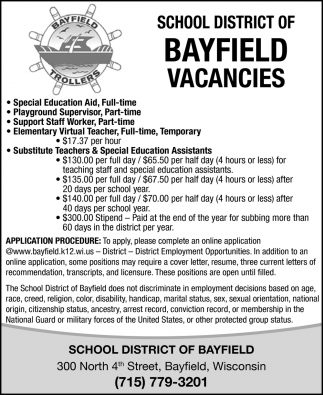 School District of Bayfield Vacancies