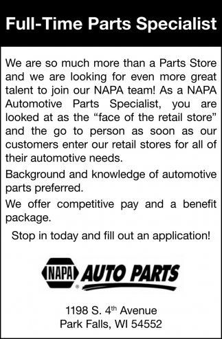 Full-Time Parts Specialist