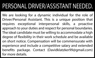 Personal Driver/Assistant Needed