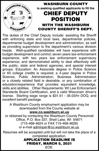 Chief Deputy Position