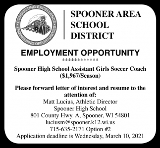 Spooner High School Assistant Girls Soccer Coach