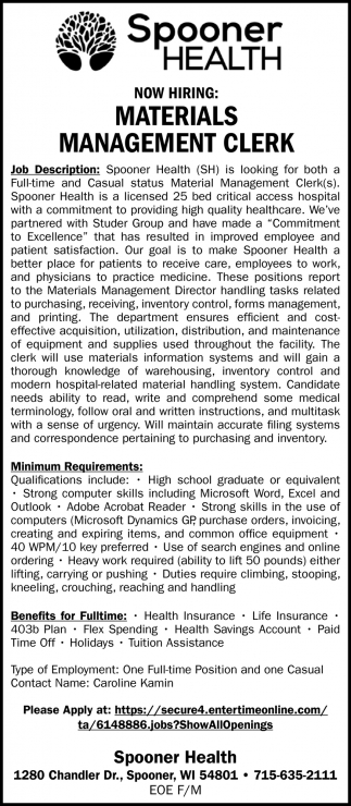 Materials Management Clerk