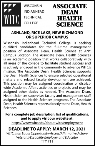 Associate Dean Health Science